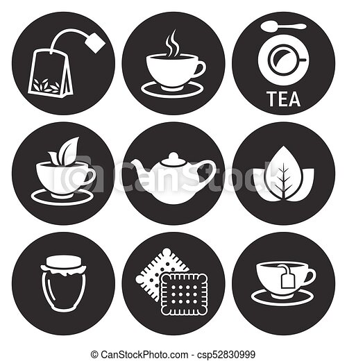 tea icons set white on a black background https www canstockphoto com tea icons set 52830999 html