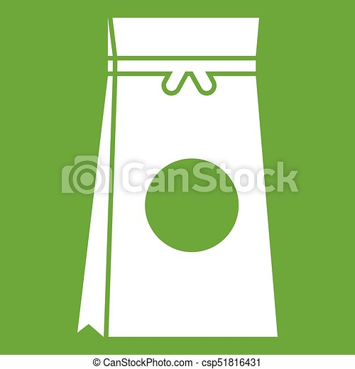 Tea packed in a paper bag icon green - csp51816431