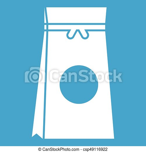 Tea packed in a paper bag icon white - csp49116922