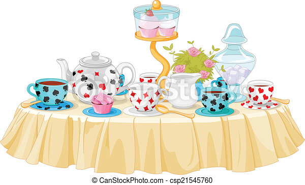 wonderland tea party decorated table rh canstockphoto com tea party clip art borders tea party clip art free