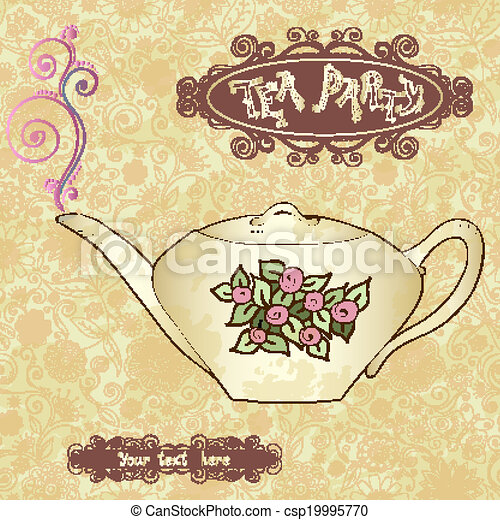 Tea Party Invitation Card Template Vector Tea Party Invitation Card