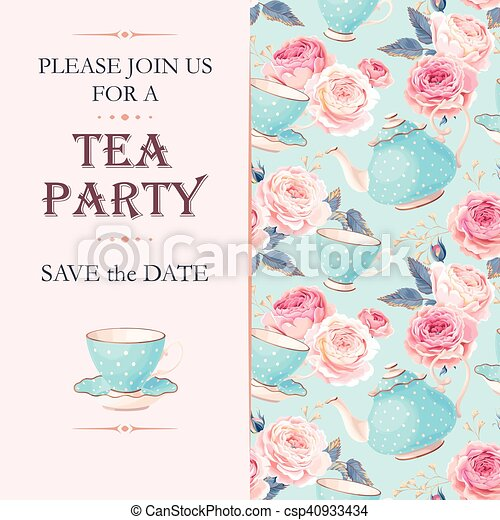 Tea Party Invitation Vector Tea Party Invitation With Cups And Flowers