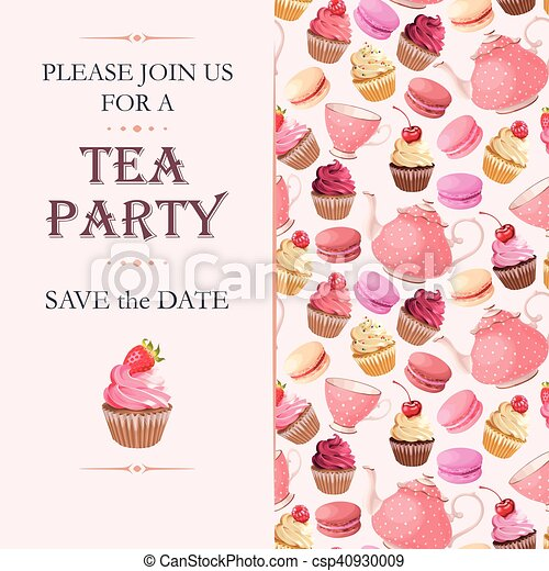 Tea Party Invitation Vector Invitation To Tea Party With Sweets
