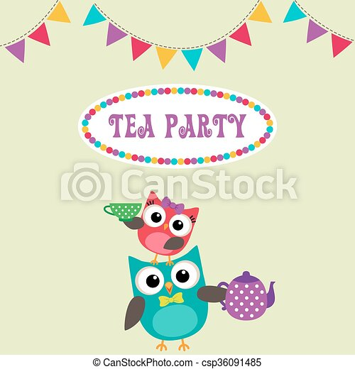 Tea Party Invitation With Cute Owls With Teapot And Cup Vector