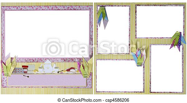 tea party scrapbook frame template csp4586206