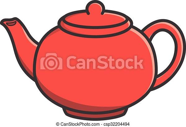 Tea Pot Vector Cartoon Illustration