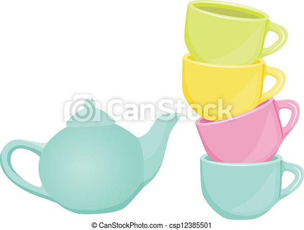 Tea set - cups and teapot - csp12385501