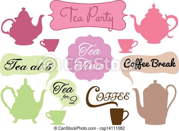 tea time, coffee break, vector - csp14111082