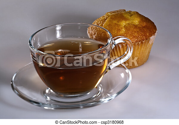 Tea time. Cousine still life with cake and tea cup - csp3180968