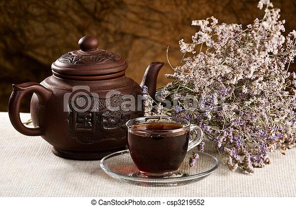 Tea time. Cuisine still life on the table - csp3219552