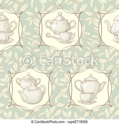 tea time vector pattern - csp42718356