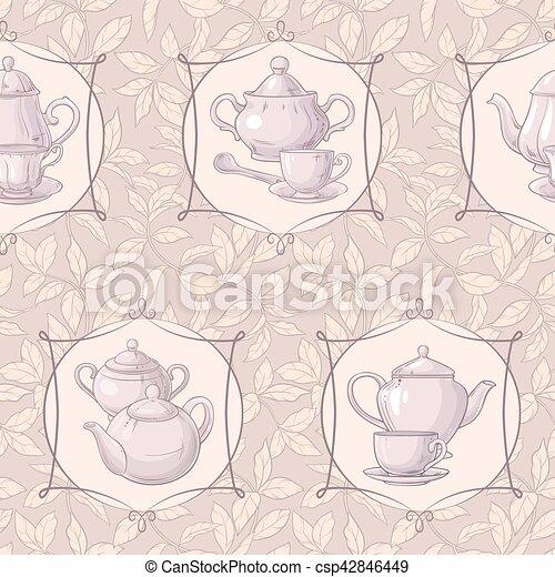 tea time vector pattern - csp42846449