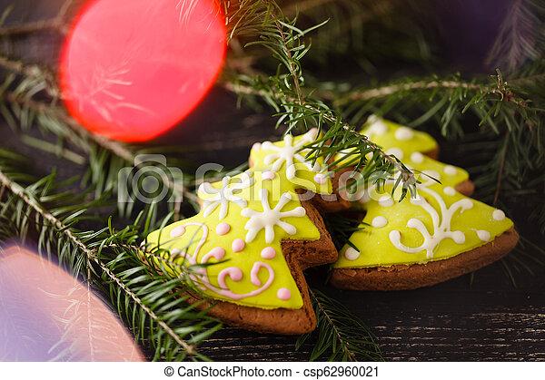 Tea with gingebread cookies in christmas evening - csp62960021