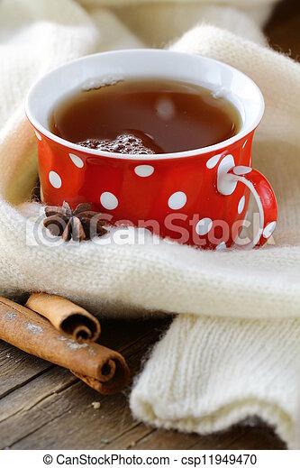 Tea with spices - cinnamon - csp11949470