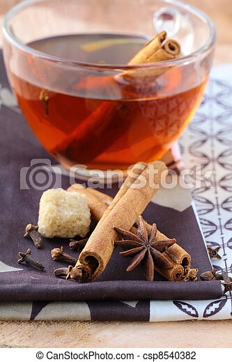 Tea with spices - cinnamon - csp8540382
