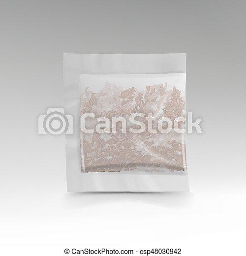 Una bolsa de té realista. En forma cuadrada. Ilustración de plantilla de vectores para tu diseño. - csp48030942