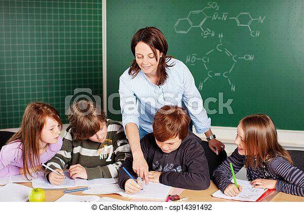 Teacher and pupils - csp14391492