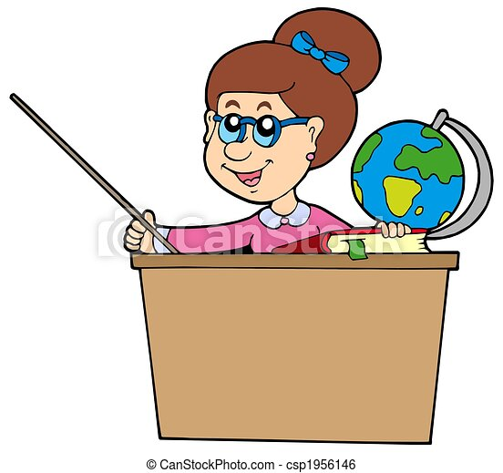 teacher behind the desk isolated illustration stock illustration rh canstockphoto com