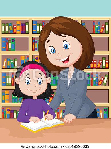 Teacher cartoon helping pupil study - csp19296639