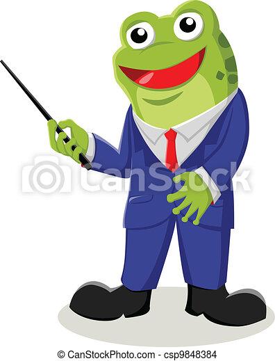 teacher cartoon illustration of a frog with pointer stick eps rh canstockphoto com Teacher Clip Art Black and White Elementary Teacher Clip Art