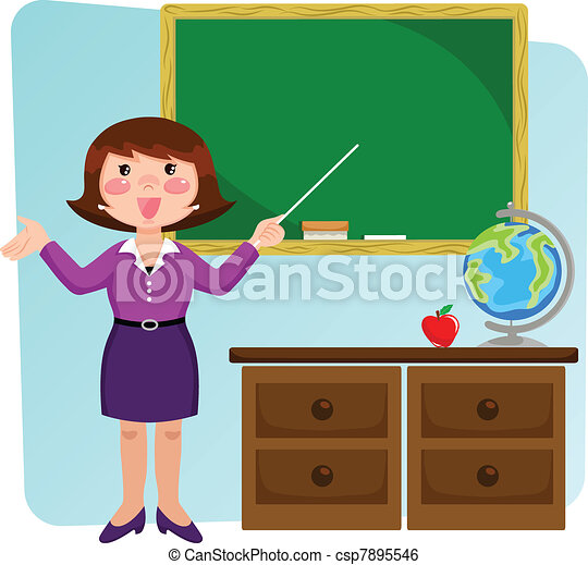teacher in the classroom - csp7895546