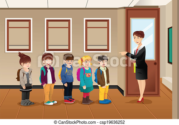 Teacher lining up the students a vector illustration of teacher teacher lining up the students csp19636252 m4hsunfo