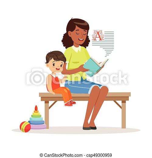 Kids Reading With Teacher Clip Art