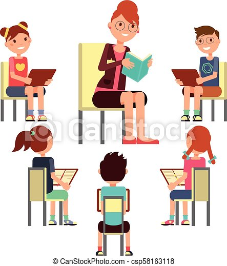 Teacher Reading Book To Children That Sitting Around Kids Education Vector Concept