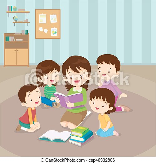 Teacher reading for kids. Teacher and kids, children enjoy ...