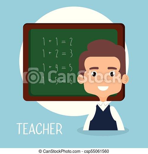 Teacher School With Chalkboard Avatar Character Vector Illustration Design