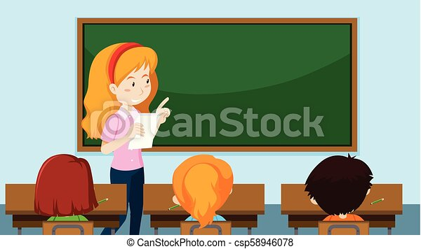 Teacher teaching a class - csp58946078