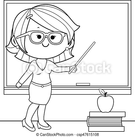 teacher teaching at class coloring book page teacher in the rh canstockphoto com Black and White Cartoon Teacher free teacher clip art black and white