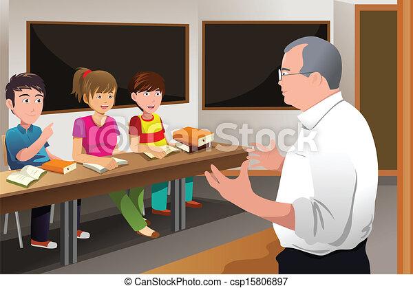 Teacher teaching college student - csp15806897