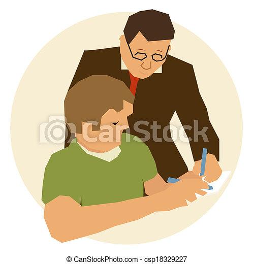 Teacher Teaching To Student In Class Vector Illustration