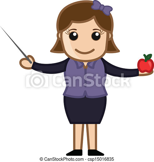 Teacher with Stick and Apple - csp15016835