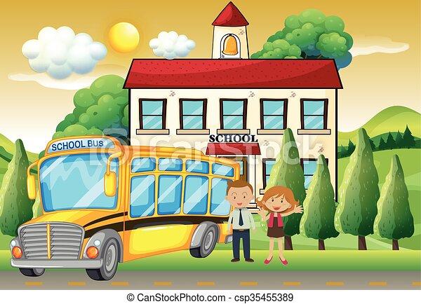 Teachers and school bus at the school - csp35455389