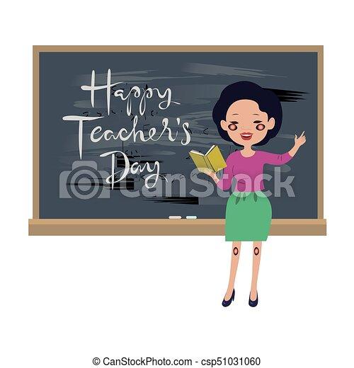 Teachers day greeting card asian teacher at the chalkboard clip teachers day greeting card asian teacher at the chalkboard csp51031060 m4hsunfo