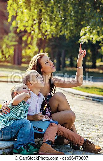 teaching mother sons generations amusement - csp36470607