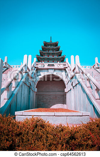 Teal and orange view of National Folk Museum of Korea - csp64562613