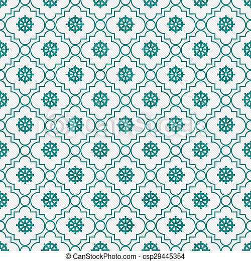 Teal and White Wheel of Dharma Symbol Tile Pattern Repeat Background - csp29445354