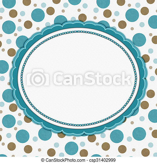 Teal, brown and white polka dot frame background. Teal, brown and ...