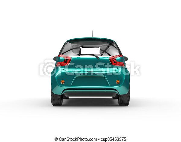 Teal Compact Car - Rear View - csp35453375