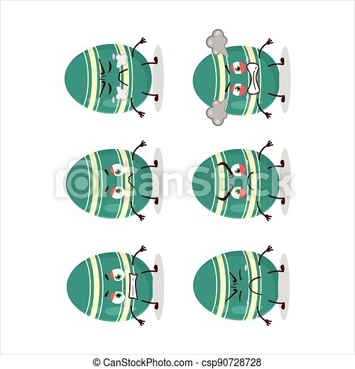 Teal easter egg cartoon character with various angry expressions - csp90728728