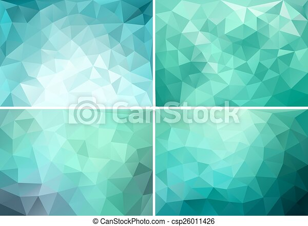 teal low poly backgrounds, vector - csp26011426