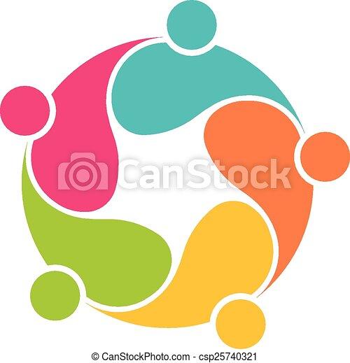 Team 5 community circle interlaced  - csp25740321