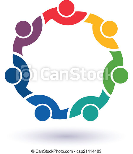 Team 7 congress. Concept group of connected people , happy friends, helping each other. Vector icon - csp21414403