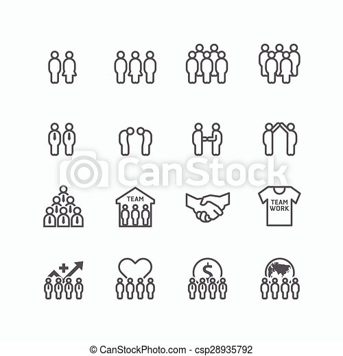team and business silhouette icons flat line design vector set. teamwork to success concept. - csp28935792