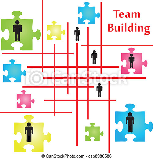 team building vector of four jigsaw puzzle pieces on the topic of rh canstockphoto com team building clip art Team Building Quotes