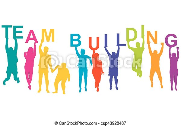 team building concept with silhouette of men and women rh canstockphoto com team building activities clipart corporate team building clipart