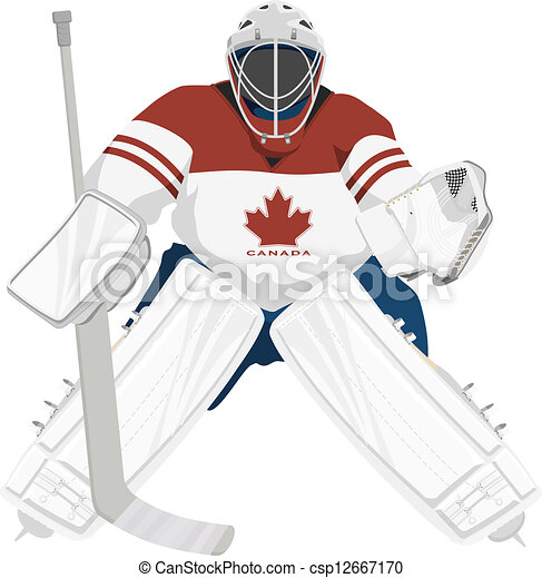 Team Canada Hockey Goalie Isolated Vector Illustrations